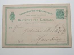 1881 , Ganzsache  Mit Bahnpoststempel - 1864-04 (Christian IX)