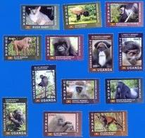 UGANDA Stamps Full Set 13x Primates 2017 Chimpanzee Monkey Baboon Gorilla Colobus Bush Baby Wildlife MNH OUGANDA - Ouganda (1962-...)
