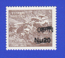 BHUTAN Nu 20 Surcharge 2001 On Nu 1 1984 Stamp Monastries ! DOUBLE OVERPRINT ! Inverted! - Bhután