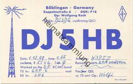 QSL - Funkkarte - DJ5HB - Böblingen - 1959 - Amateurfunk