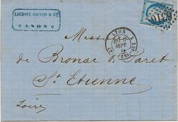 LETTRE AFFRANCHIE N° 60 OBLITERE LOSANGE GROS CHIFFRES 6316 -LYON LES TERREAUX 1874 - Postmark Collection (Covers)