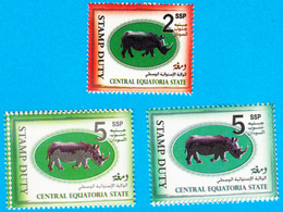 SOUTH SUDAN Short Set 2 & 5 SSP Revenue / Fiscal Stamp Central Equatoria State RHINO Timbres Fiscaux Soudan Du Sud RARE! - Sud-Soudan