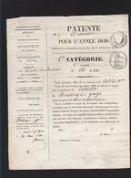 Condé Sur Noireau (arrondissement De Vire Calvados) Patente De Cabaretier Année 1840 - Documents Historiques