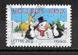 FRANCE 3854 Adhésif 68 Vœux Manchot Bonhomme De Neige Et Rennes - France