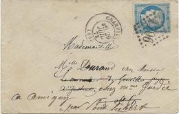 LETTRE AFFRANCHIE N° 60 OBLITEREE LOSANGE GROS CHIFFRES -1706-GRANVILLE -1872 - Postmark Collection (Covers)