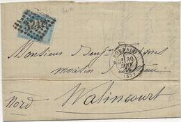 LETTRE AFFRANCHIE N° 60 OBLITEREE LOSANGE GROS CHIFFRES -3218-ROUBAIX-1872 - Postmark Collection (Covers)