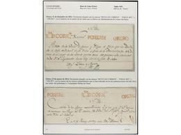 BOLIVIA. PERÍODO COLONIAL E INDEPENDIENTE. Colección De 64 Cartas Con Encomiendas Y Varios Documentos Con Marcas RL. REN - Briefmarken