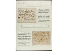 CHILE. PERÍODO COLONIAL E INDEPENDIENTE. Colección Compuesta Por 35 Cartas, Envueltas O Frontales, Destacando Carta De 1 - Briefmarken
