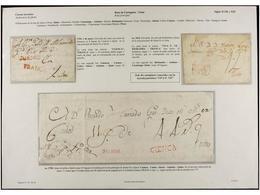 ECUADOR. PERÍODO COLONIAL. Conjunto De Cinco Cartas O Envueltas Con Marcas De PASTO Y FRANCA En Negro De 1804 Ca., QUITO - Briefmarken