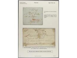 URUGUAY. PERÍODO COLONIAL. Conjunto De Cuatro Cartas, Una Encomienda Y Un Recibo De Carga, Destacando La Rarísima Carta  - Stamps