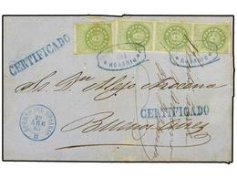 ARGENTINA. Sc.6 (4). 1863. ROSARIO A BUENOS AIRES. 10 Cents. Verde Amarillo (4) (sello Y Tira De Tres), Mat. CORREO NACI - Briefmarken