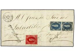 ARGENTINA. Sc.11B, 13 (2). 1866. BUENOS AYRES A SALADILLA. 5 Cts. Carmín Vinoso Y 15 Cts. Azul (2), Mat. ÓVALO DE PUNTOS - Briefmarken