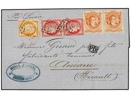 ARGENTINA. 1874. BUENOS AYRES A FRANCIA. Circulada Con Sellos De 5 Cts. Rojo (2) De Argentina Y Sellos Franceses De 40 C - Briefmarken
