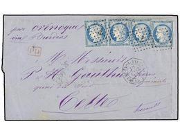 ARGELIA. 1875. BUENOS AYRES A FRANCIA. Circulada Con Cuatro Sellos De Francia De 25 Cts. Azul. Mat. ANCLA Y Fechador Oct - Briefmarken