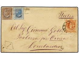 ARGENTINA. 1876 (8-Oct.). BUENOS AIRES A PORLEZZA (Italia). Sobre Circulado Con Sello Argentino De 5 Cts. Rojo Y Sellos  - Briefmarken