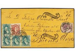 ARGENTINA. Sc.22, 34, 18A (4). 1877 (21 Junio). CORRIENTES A BUENOS AIRES. 1 Ctvo. Lila, 8 Ctvos. Castaño Lila Y 10 Ctvo - Briefmarken