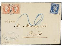 LEVANTE: CORREO AUSTRIACO. 1873. Cover From RETTIMO, CRETE To PIRAEUS Franked By Austrian Levant 1867 5 S. Red In A Hori - Briefmarken