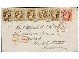 LEVANTE: CORREO AUSTRIACO. Mi.3, 5. (1870 Ca.). Austrian Levant 5s. Red And 15s. Brown In A Hotizontal Strip Of Five, On - Briefmarken