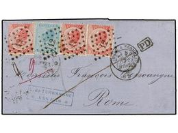 BELGICA. Of.18, 20 (3). 1868. ANVERS To ROME (Italy). Folded Letter Franked With 20 Cts. Blue And Three 40 Cts. Rose Sta - Stamps