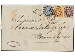 BELGICA. 1872. ANVERS To BUENOS AYRES (Argentina). Folded Letter Franked With 20 Cts. Blue, 30 Cts. Ocre And 1 Fr. Lilac - Stamps