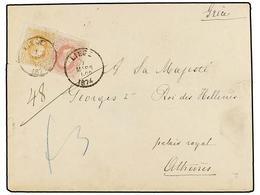 BELGICA. Of.33, 34. 1874. LIEGE To ATHENS (Greece). Envelope Franked With 30 Cts. Ocre And 40 Cts. Rose. Arrival Cds. On - Stamps