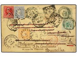BELGICA. 1892. BRUSELAS To NETHERLAND INDIES, Redirected To USA And Returned To Belgium. Rare Combination Franking Belgi - Briefmarken