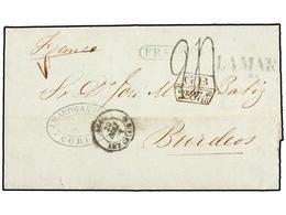 BOLIVIA. 1863. COBIJA A FRANCIA. Marca LAMAR Y FRANCA En Azul, Indicando Que El Porte Local Estaba Pagado. Circulada Por - Briefmarken