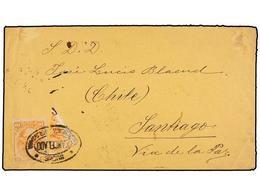 BOLIVIA. 1884. SUCRE A SANTIAGO (Chile). 10 Ctvos. Naranja Más Sello Bisectado Para Completar Un Franqueo De 15 Ctvos. M - Briefmarken