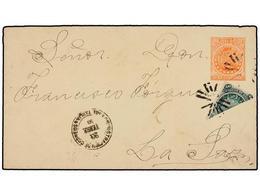 BOLIVIA. 1893. TARIJA A LA PAZ. Entero Postal De 10 Ctvos. Rojo Con Franqueo Adicional De 10 Ctvos. Con Sello Bisectado  - Briefmarken