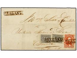 BRASIL. Sc.53, 23, 24. 1867. BRAGANSA A SANTOS. 10 Reis Naranja Y 60 Reis Negro. Mat. Lineal BRAGANSA. RARO Franqueo Mix - Briefmarken