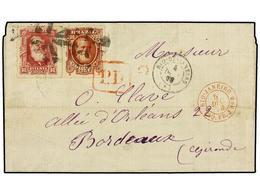 BRASIL. Sc.76,71. 1878 (4 Dic.). RÍO DE JANEIRO A FRANCIA. 80 Reis Rosa Carmín Y 700 Reis Castaño Rojo, Franqueo De 780  - Briefmarken