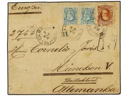 BRASIL. Sc.76, 88 (2). 1886 (9 Marzo). CAMPINAS A ALEMANIA 50 Reis Azul (2) Y 700 Reis Bistre. Muy Raro Franqueo En Cart - Briefmarken