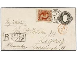 BRASIL. Sc.76. 1891. CAMPINAS A ALEMANIA. Entero Postal De 200 Reis Negro Con Franqueo Adicional De 700 Reis Castaño Roj - Briefmarken