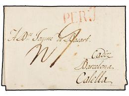 CHILE. 1816 (28 Julio). SANTIAGO DE CHILE A CALELLA (Barcelona). Circulada Vía Perú Y Cartagena De Indias, Habana Y Cádi - Briefmarken