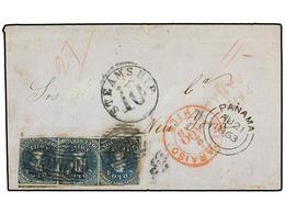CHILE. Sc.12 (3). 1863. VALPARAISO A NEW YORK. 10 Ctvos. Azul, Tira De Tres (dos Márgenes Cortos), Mat. óvalo De Barras  - Briefmarken