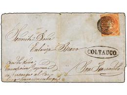 CHILE. Sc.14. 1865 (4 Agosto). COLTAUCO A SAN FERNANDO. 15 Ctvos. Rojo, Mat. CÍRCULOS CONCÉNTRICOS Y Marca En Un óvalo C - Briefmarken