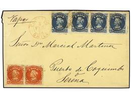 CHILE. Sc.17 (2), 18 (4). 1872. COPIAPO A COQUIMBO. 5 Cts. Rojo (2) Y 10 Cts. Azul (4) Para Completar Un Franqueo De 50  - Briefmarken