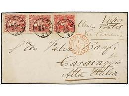 CHILE. Sc.26, 27 (2). 1881. GUERRA DEL PACÍFICO. COPIAPO A ITALIA. 2 Cts. Rosa, Y 5 Cts.  Rojo (2). Franqueo De 12 Cts.  - Briefmarken