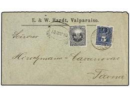 CHILE. 1891 (Junio). GUERRA DEL PACIFICO. MOLLENDO A TACNA Circulada Con Sello De Chile De 5 Cts. Azul Tasada A La Llega - Briefmarken