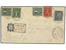 CHILE. Sc.37 (3), 38, 30. 1897. VALPARAISO A ANTONINA (Brasil). 1 Ctvo. Verde (3), 2 Cts. Rojo Y 15 Cts. Verde Gris, Car - Briefmarken