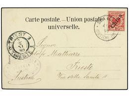 CHINA. 1899. SHANGHAI To TRIESTE (Austria). Postcard With German 10 Pf. Red Stamp With Very Rare Oval Marking AUSTRIAN L - Briefmarken