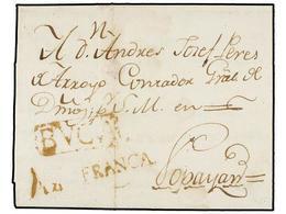 COLOMBIA. 1794 (10 Abril). BUGA A POPAYÁN. Carta Completa Con Texto. Marcas BUGA Y FRANCA En Color Sepia. MAGNÍFICA Y MU - Unclassified