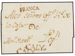 COLOMBIA. 1798 (14 Enero). CALY A POPAYÁN. Carta Completa Con Texto. Marcas CALY Y FRANCA En Rojo. RARÍSIMA Circulada En - Unclassified