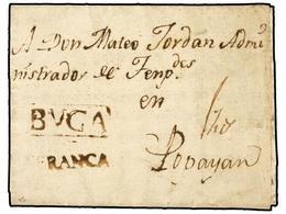 COLOMBIA. 1806 (10 Julio). BUGA A POPAYAN. Marca BUGA A FRANCA En Color Sepia. MAGNÍFICA Y RARA. - Unclassified