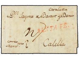 COLOMBIA. 1809 (20 Octubre). CARTAGENA DE INDIAS A CALELLA (Barcelona). Marca SANTA FE En Rojo, Manuscrito 'Correo Marít - Unclassified