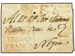 COLOMBIA. 1810 (6 Marzo). SANTA FE A NEYVA. Carta Completa Con Texto, Marcas SANTA FE/YNDIAS/FRANCA Y VA. Fº 7 (VIVA FER - Unclassified