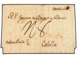 COLOMBIA. 1811. CARTAGENA DE INDIAS A CALELLA (Barcelona). Manuscrito 'Goleta Perla', Marca CÁDIZ A La Llegada Y Porte D - Unclassified