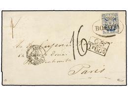 COLOMBIA. Sc.31. 1865. BOGOTÁ A PARÍS. 10 Cent. Azul, Mat. Ovalado BOGOTÁ, Circulado Vía El Correo Británico, Al Dorso F - Unclassified