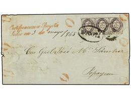COLOMBIA. 1865 (May 3). Outer Letter Sheet To POPAYAN Sent Registered With Single And A Pair Of 1865 10c. Violet, One Wi - Unclassified