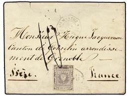 COLOMBIA. Sc.46. 1866. BOGOTA A FRANCIA. Sobre Circulado Con El 10 Cts. Lila, Mat. BOGOTA Dentro De Un óvalo Y Fechador  - Unclassified